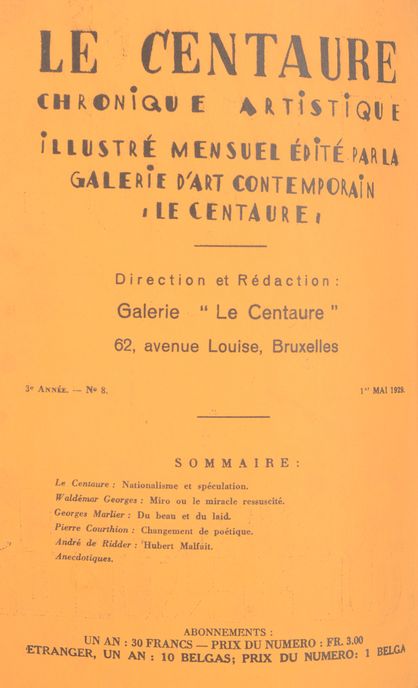 Le Centaure — Table May 1929