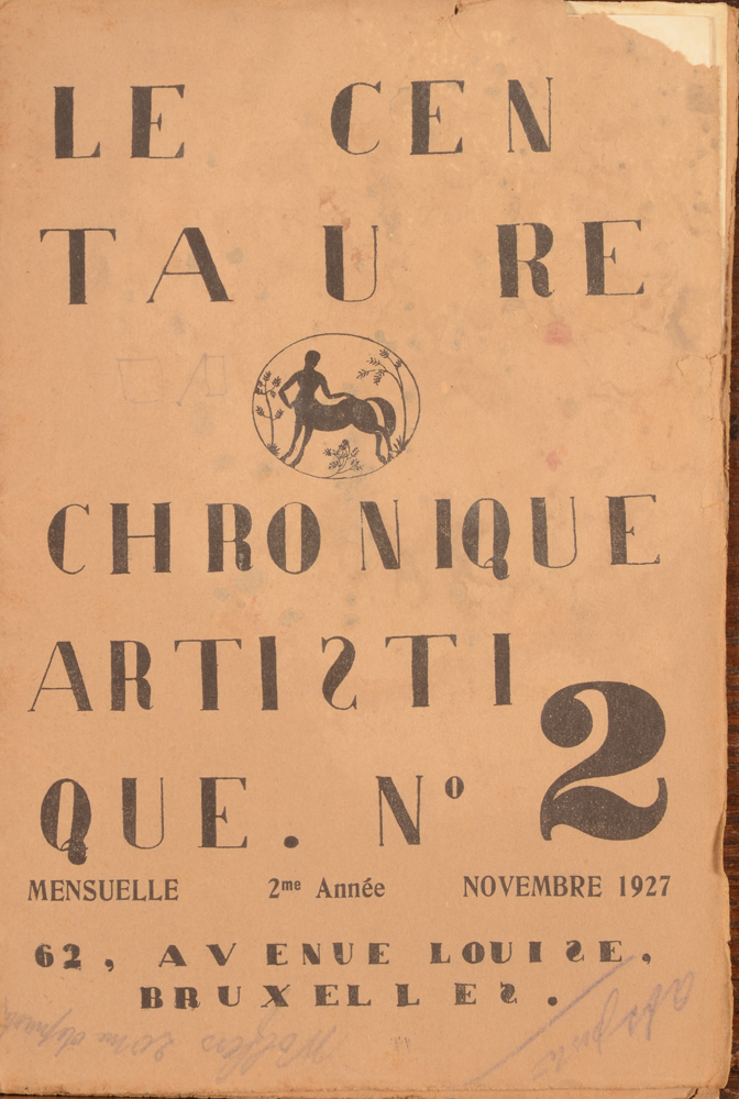 Le Centaure — Cover November 1927, issue in bad condition