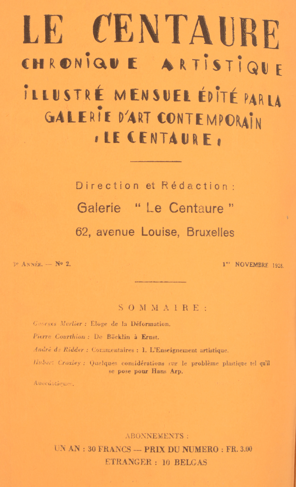Le Centaure — November 1928 table