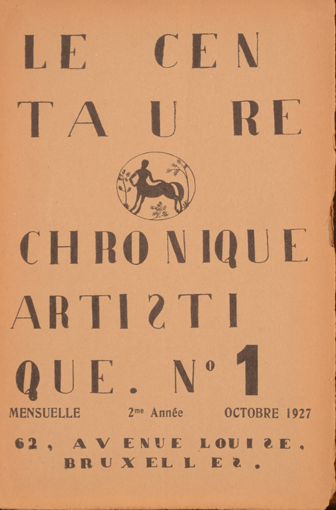 Le Centaure — October 1927, cover