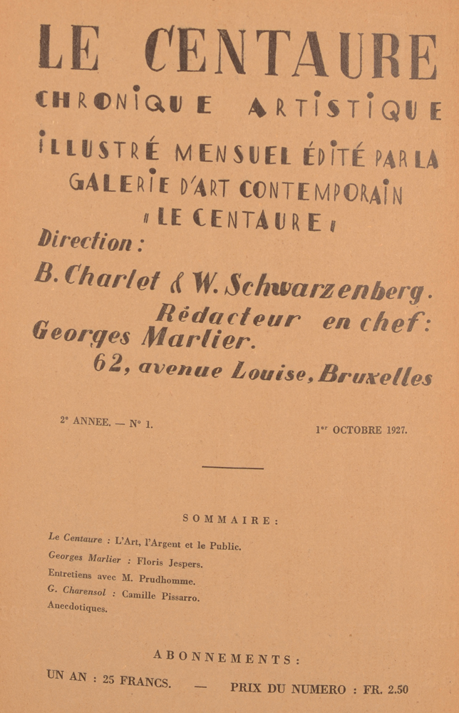 Le Centaure — October 1927, Table of contents
