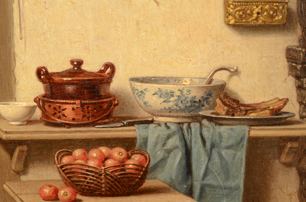 Charles Joseph Grips — Detail of the painting, showing porcelain, ceramics and food in the kitchen