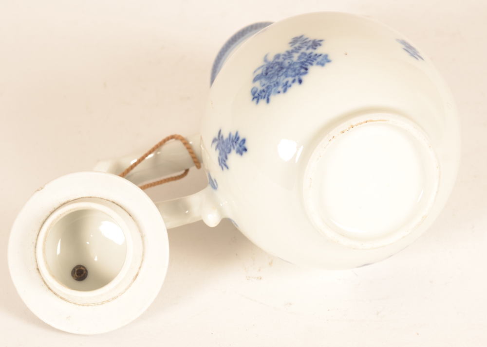 Small blue-white coffee pot china — Base of the coffee pot and inside of the lid.