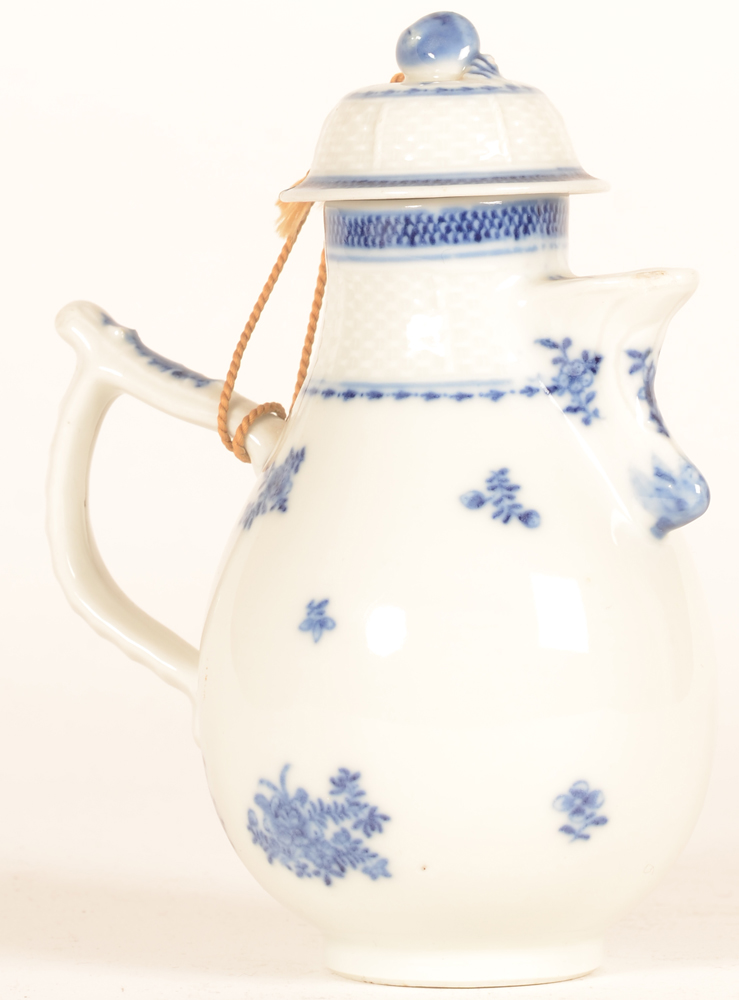 Small blue-white coffee pot china — Alternate view of the coffee pot