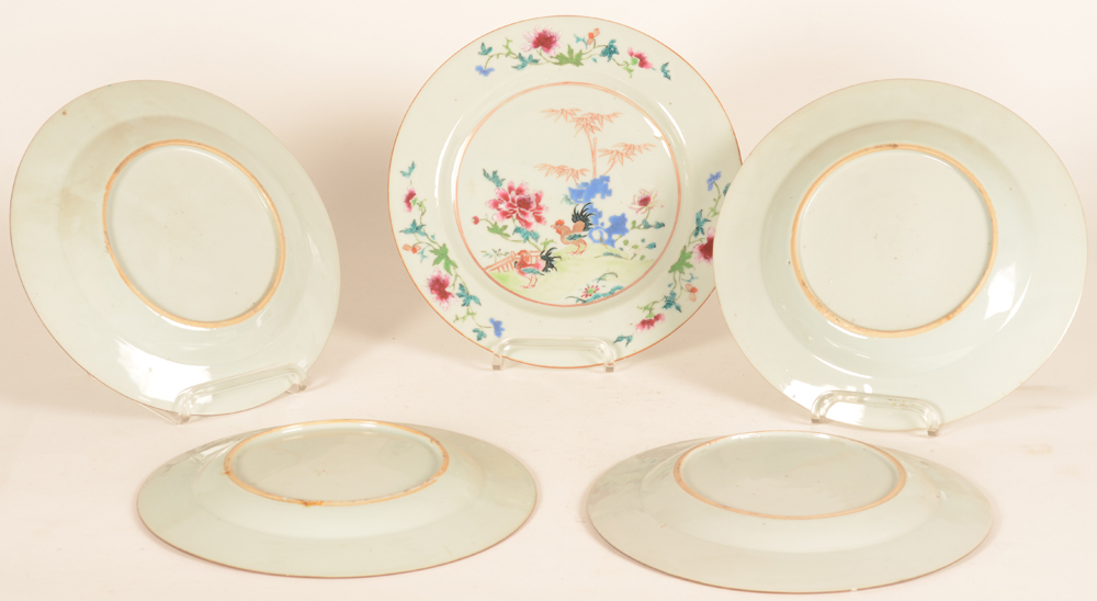 A set of six (!) chinese porcelain famille rose plates — Back of the plates