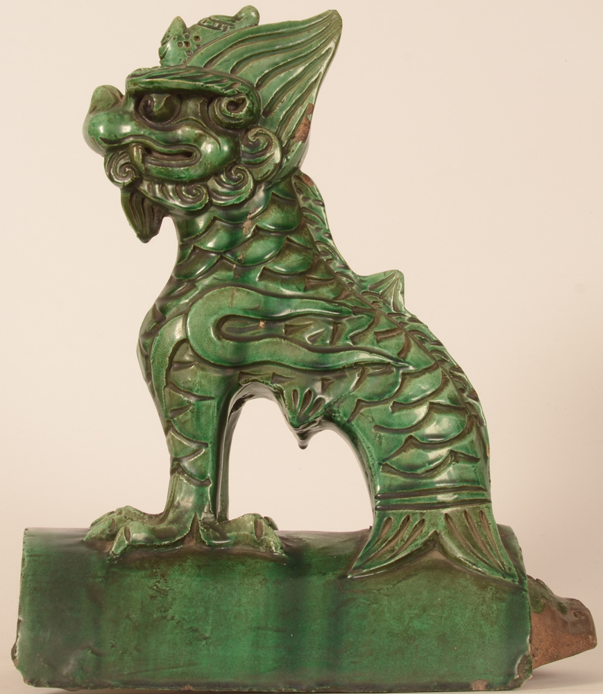 Chinese roof tile Fo lion — Side view
