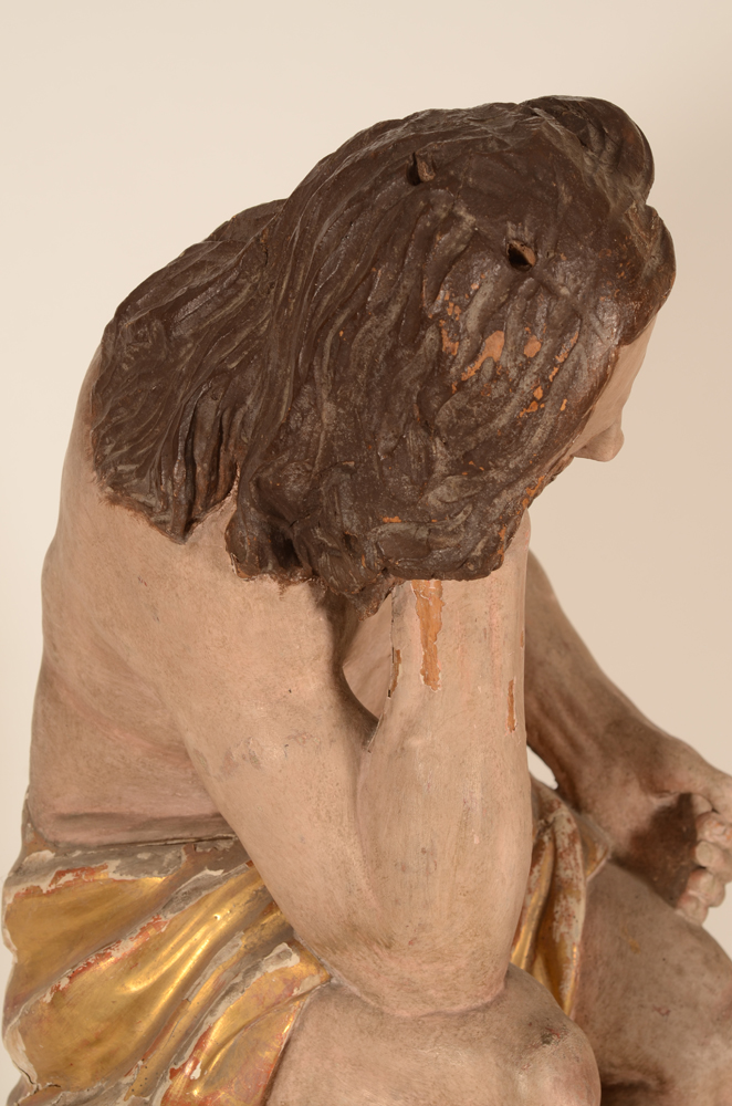 Christ on the cold stone — Deatil of the back of the head, with two holes