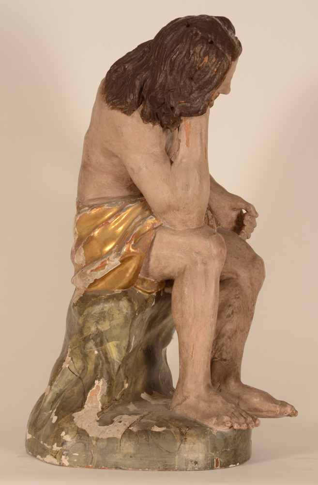 Christ on the cold stone — View from the right hand side of the sculpture