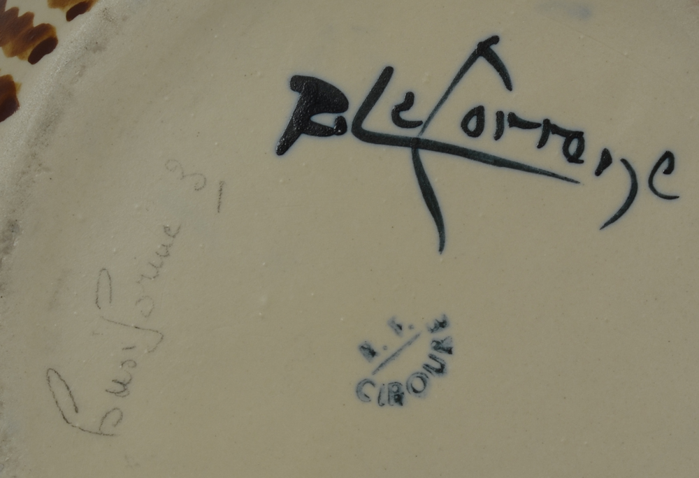 Ciboure marks — Signature of Richard Le Coronne, title of the vase and Ciboure mark on the bottom