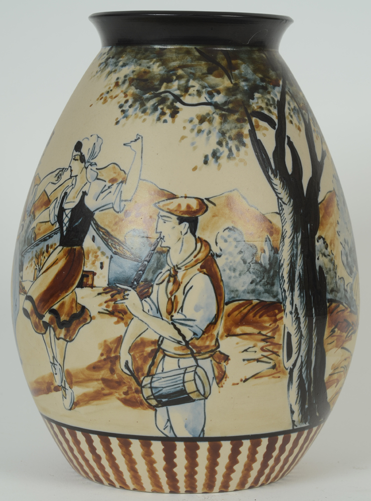 Ciboure Vase — Side view, showing the good quality painting of the decoration