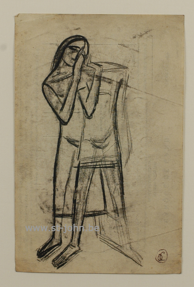 Oscar Colbrandt — <p> <strong>Oscar Colbrandt (1879-1959)</strong>, Two figures, charcoal on paper, 21,5 x 14 cm, signed with the monogram stamp.</p>