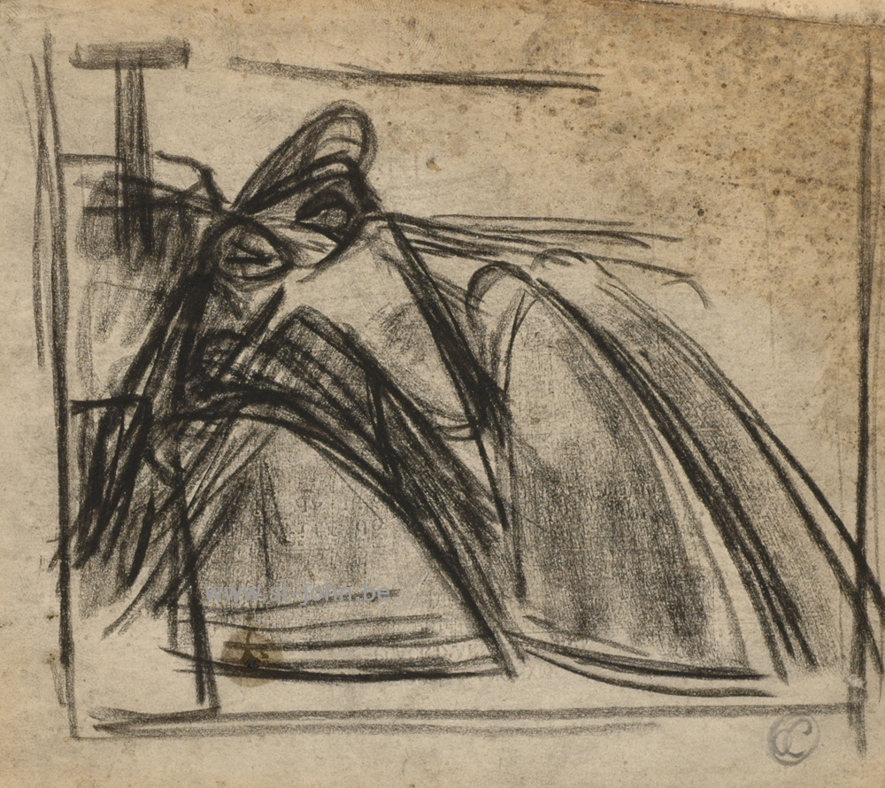 Oscar Colbrandt — <p> <strong>Oscar Colbrandt (1879-1959)</strong>, lamentation of Christ, charcoal on paper, 14 x 16 cm, signed with the monogram.</p>