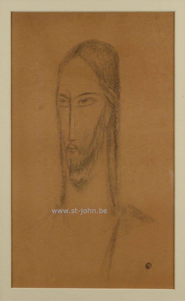 Oscar Colbrandt — <p> <strong>Oscar Colbrandt (1879-1959)</strong>, Head of Christ, charcoal on paper, 49,5 x 29,5 cm, signed with the monogram.</p>