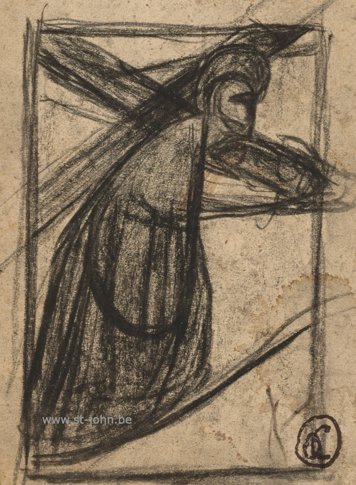 Oscar Colbrandt — <p> <strong>Oscar Colbrandt (1879-1959)</strong>, Christ bearing the cross, charcoal on paper, 11 x 8,5 cm, signed with the monogram stamp.</p>