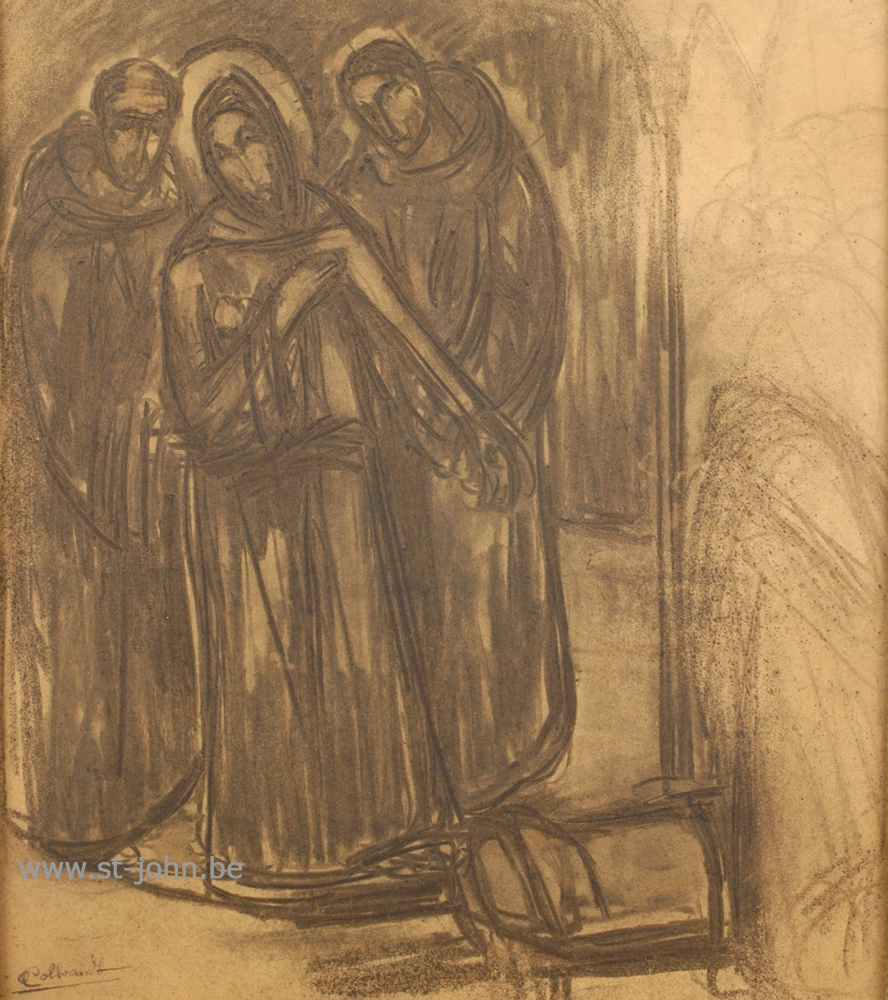 Oscar Colbrandt — <p> <strong>Oscar Colbrandt (1879-1959)</strong>, Three figures, charcoal on paper, 39 x 34 cm, signed.</p>