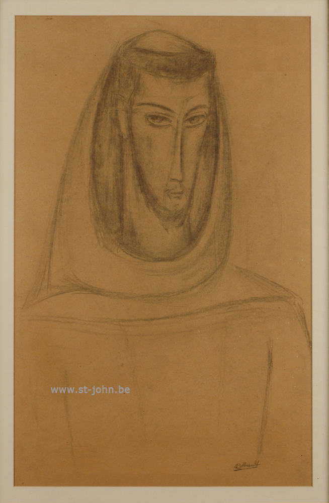 Oscar Colbrandt — <p> <strong>Oscar Colbrandt (1879-1959)</strong>, Head of St-Fransiscus, charcoal on paper, 59,5 x 37 cm, signed.</p>