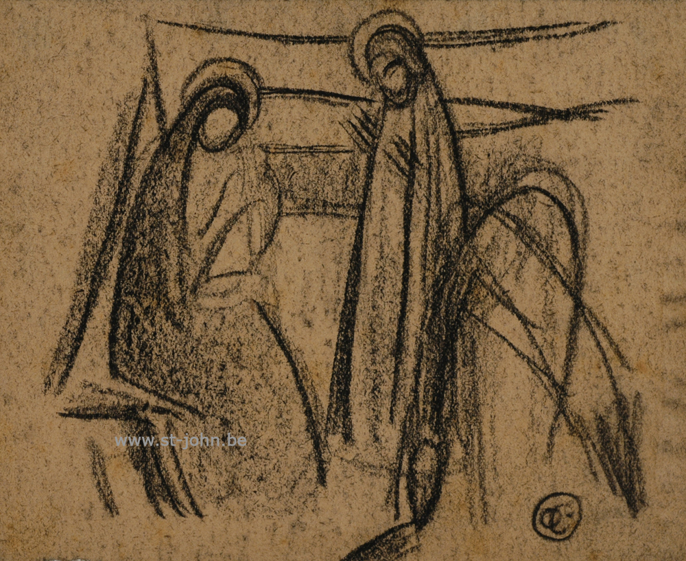 Oscar Colbrandt — <p> <strong>Oscar Colbrandt (1879-1959)</strong>, the Holy Family, charcoal on paper, 11 x 13,5 cm, signed with the monogram.</p>