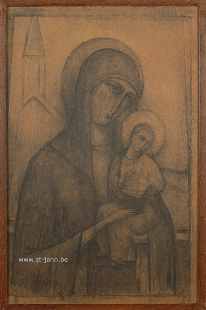 Oscar Colbrandt — <p> <strong>Oscar Colbrandt (1879-1959)</strong>, classical Madonna, charcoal on paper, 60 x 39 cm, signed.</p>
