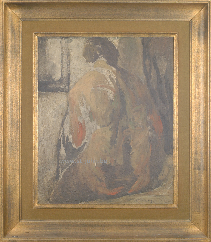 Oscar Colbrandt — <p> <strong>Oscar Colbrandt (1879-1959)</strong>, a rare and early painting, Nude seen from the back, oil on panel, 56 x 54,5 cm.</p>