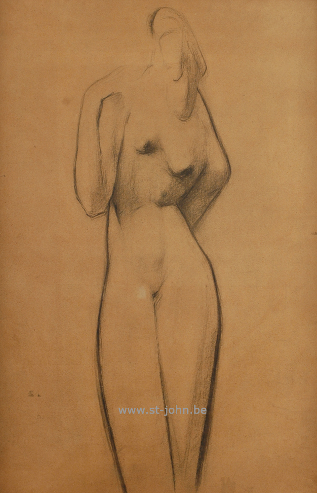 Oscar Colbrandt — <p> <strong>Oscar Colbrandt (1879-1959)</strong>, Standing nude, charcoal on paper, 56 x 37 cm.</p>