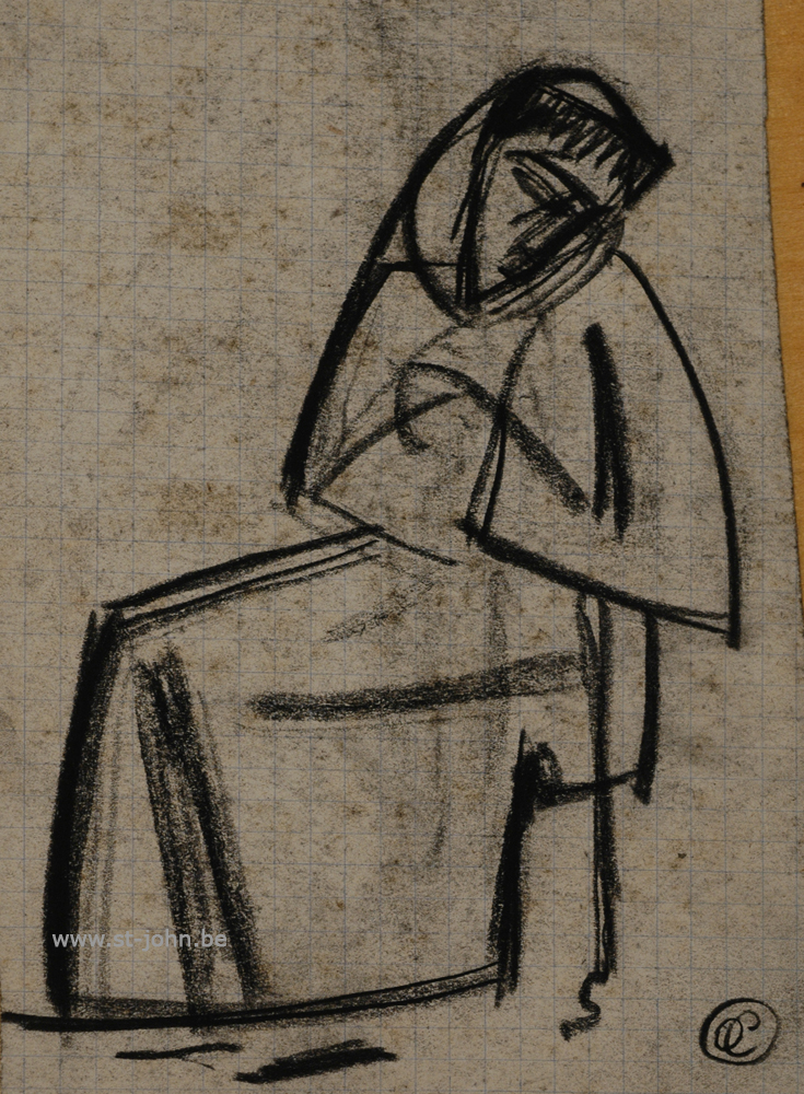 Oscar Colbrandt — <p> <strong>Oscar Colbrandt (1879-1959)</strong>, St-Francis of Assisi sitting, charcoal on paper, 15 x 9,5 cm, signed with the monogram.</p>