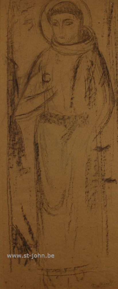 Oscar Colbrandt — <p> <strong>Oscar Colbrandt (1879-1959)</strong>, St-Francis of Assisi, charcoal on paper, 62 x 26 cm, signed.</p>