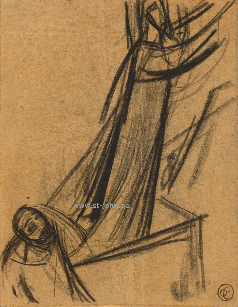 Oscar Colbrandt — <p> <strong>Oscar Colbrandt (1879-1959)</strong>, Resurrection, charcoal on paper, 19 x 15 cm, signed with the monogram.</p>