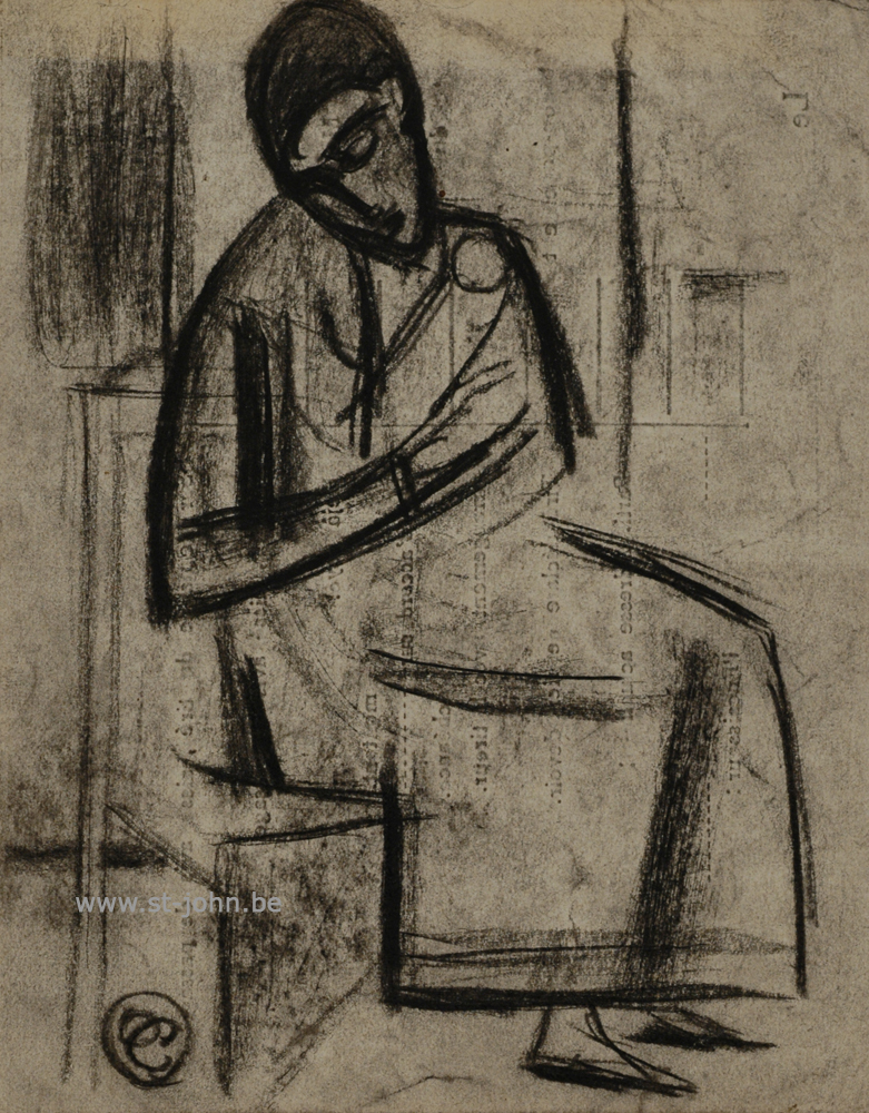 Oscar Colbrandt — <p> <strong>Oscar Colbrandt (1879-1959)</strong>, Sitting figure, charcoal on paper, 13,6 x 10,5 cm, signed with the monogram.</p>