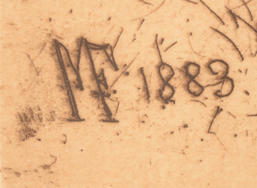 Maria van Hohenzollern-Sigmaringen — engraved monogram and date in the image, bottom left