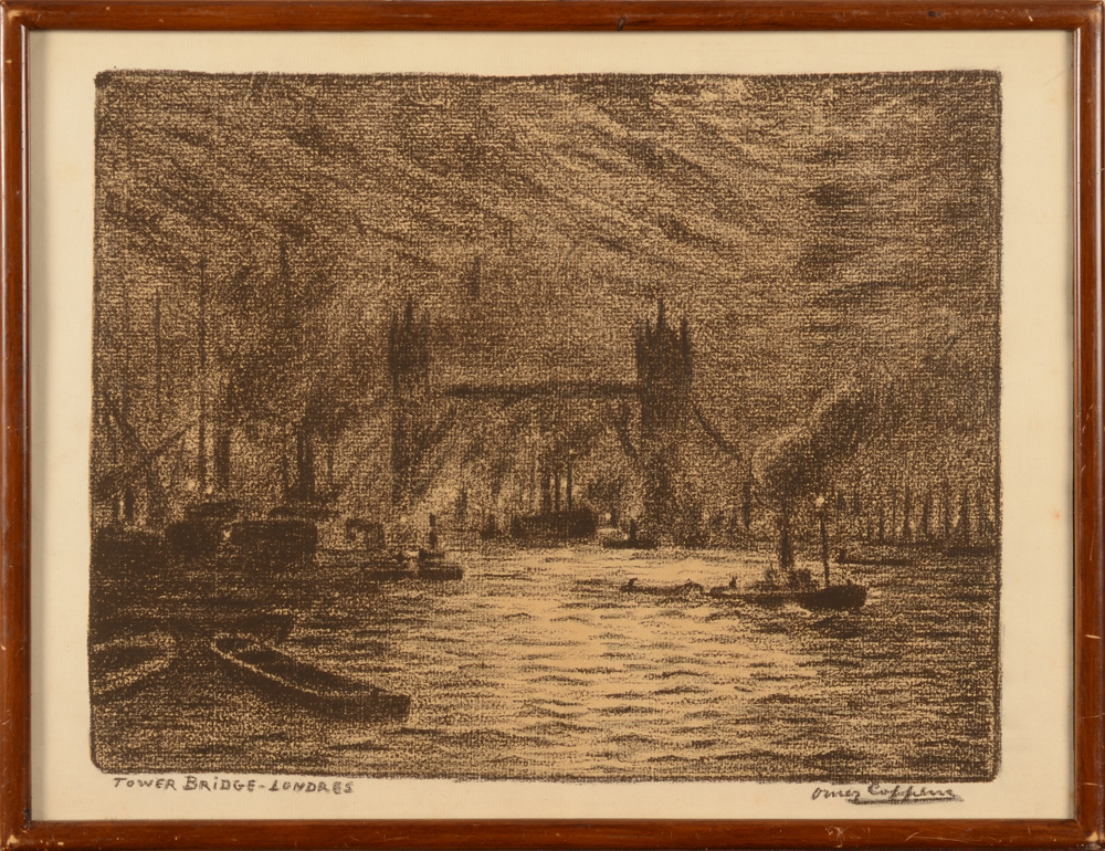 Omer Coppens — Lithographie du Tower Bridge à Londres, signée dans l'image