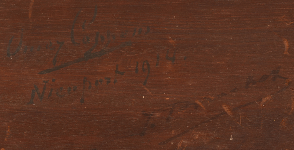 Omer Coppens — Signature of the artist, localisation and date at the back. A second unidentified signature (of a previous owner?) is also visible