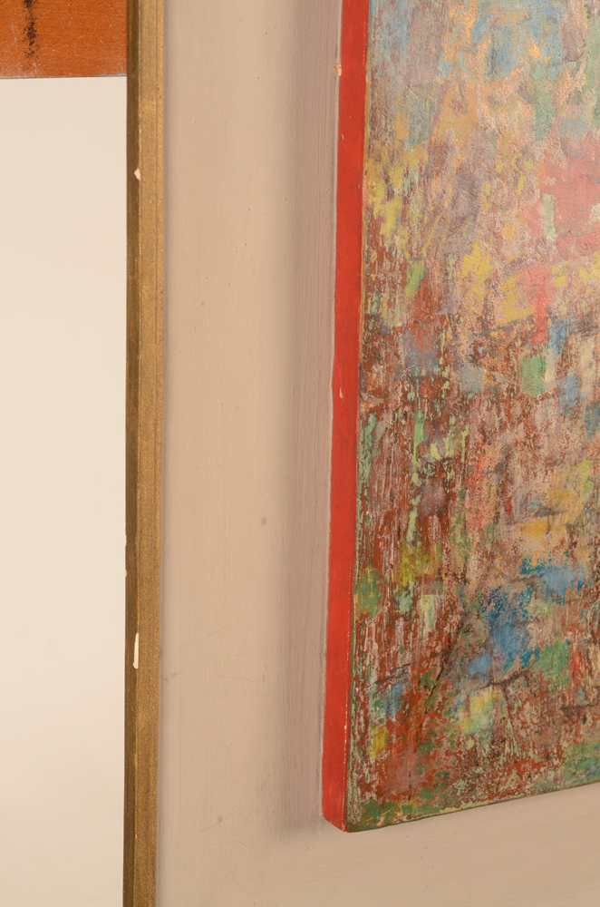 Karel Cornel Floating Abstraction — The sides painted in red on a grey painted background
