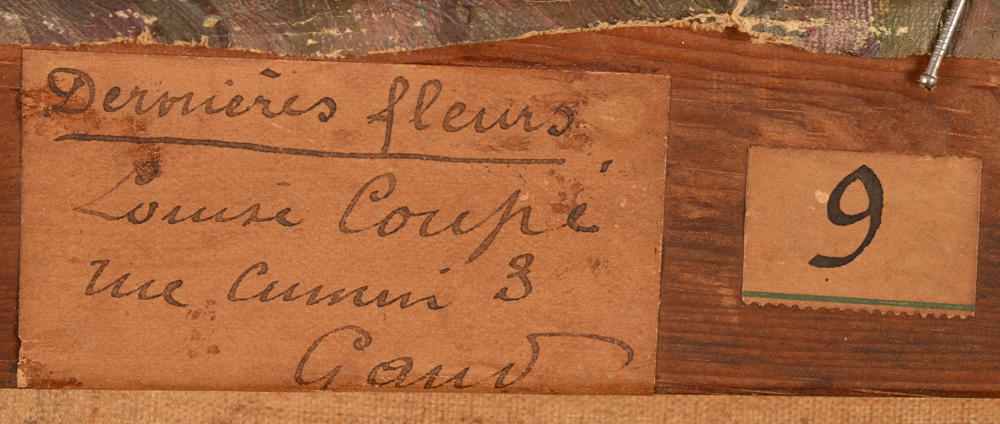 Louise Coupé — Detail of the label with title, at the back of the strecher