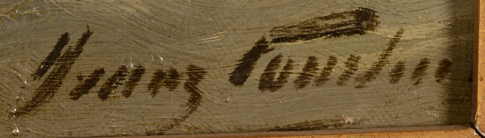 Franz Courtens — Signature of the artist bottom right, partially obscured by the frame