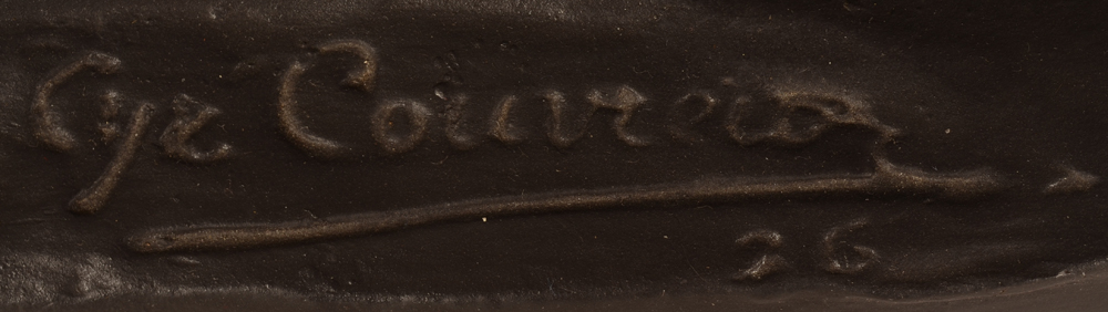 Cyriel Couvreur — Signature of the artist and date on the base