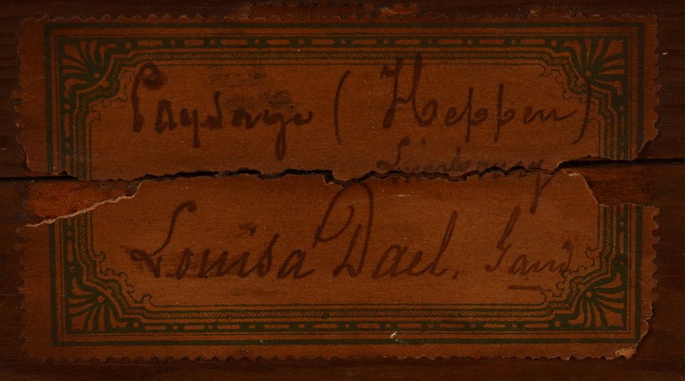 Louisa Dael — Detail of the original label on the stretcher