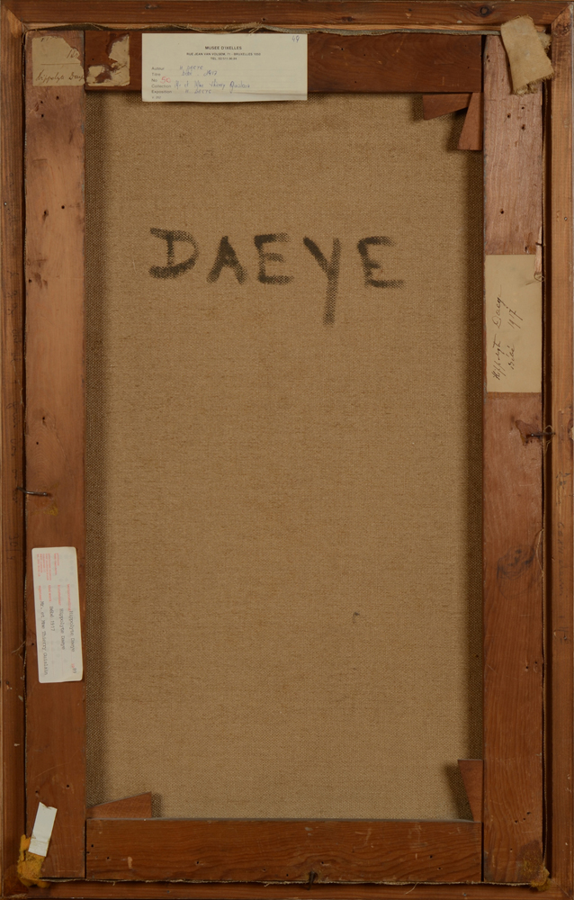 Hippolyte Daeye — Back of the painting with large signature and exhibition labels.