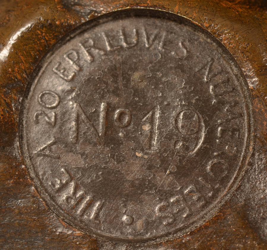 Ernest Dagonet — An original pastille mark inserted into the bronze with the justification 19/20