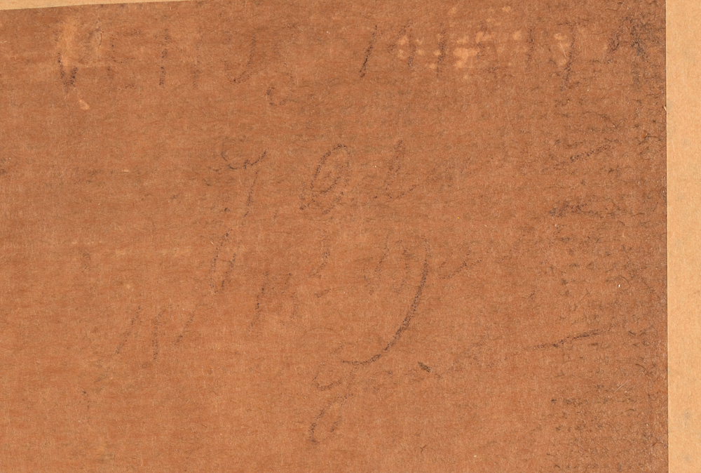 Jan Frans De Boever — Title and signature at the back, almost faded but still legible