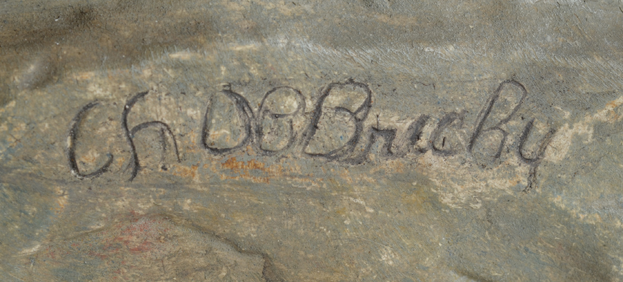 Charles De Brichy — Inscised siganture on the base of the sculpture.