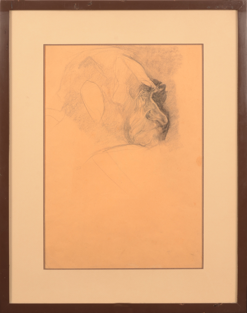 Jules De Bruycker — Portrait of a man, this drawing is probably related to the etching 'Mr. Malin' of 1921