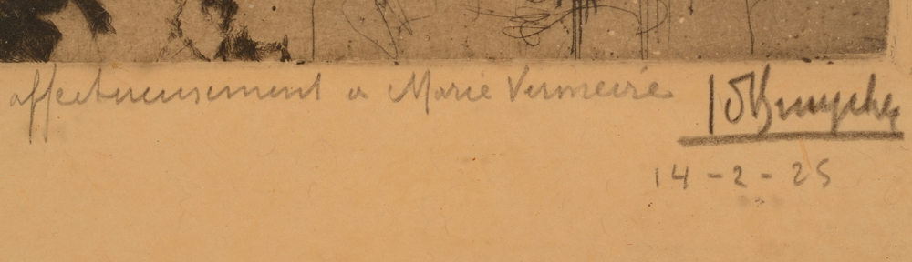 Jules De Bruycker — Signature of the artist in pencil, dedication and date 14th of February 1925 bottom right
