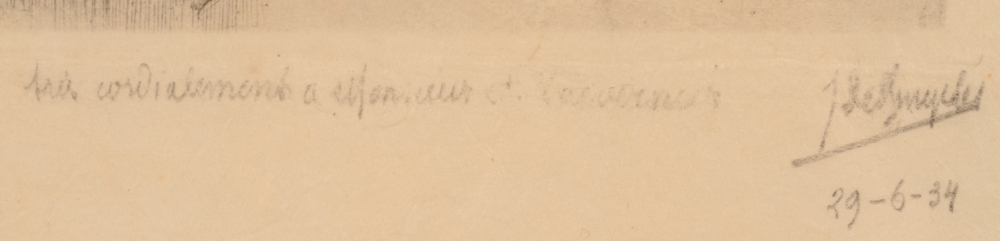 Jules De Bruycker — Signature, date and dedication in pencil by the artist, bottom right