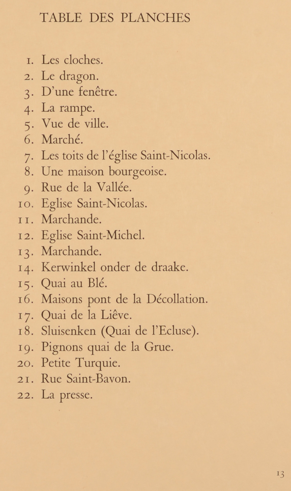 Jules De Bruycker — Table of contents, titles of the original etchings