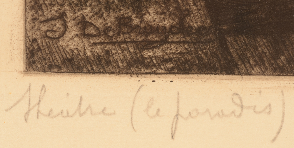 Jules De Bruycker — Title of the etching in pencil, bottom left
