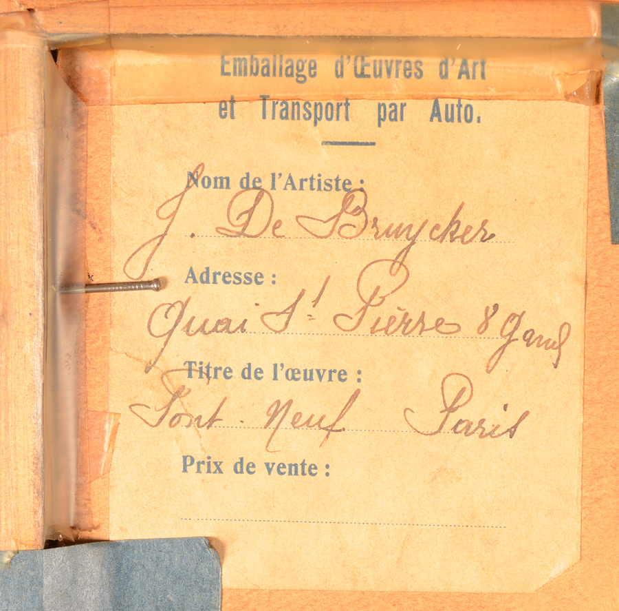 Jules De Bruycker — Transport label with title and showing Jules De Bruycker as owner of the copy