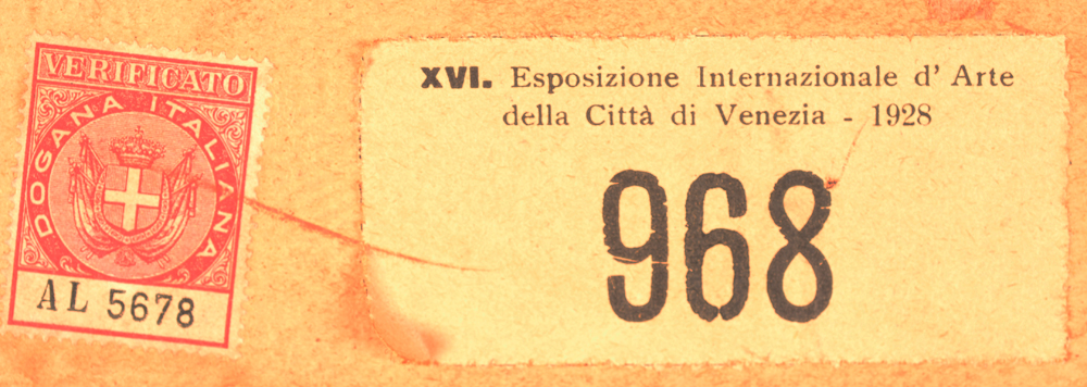 Jules De Bruycker — Original label of the Biennale di Venezia at the back