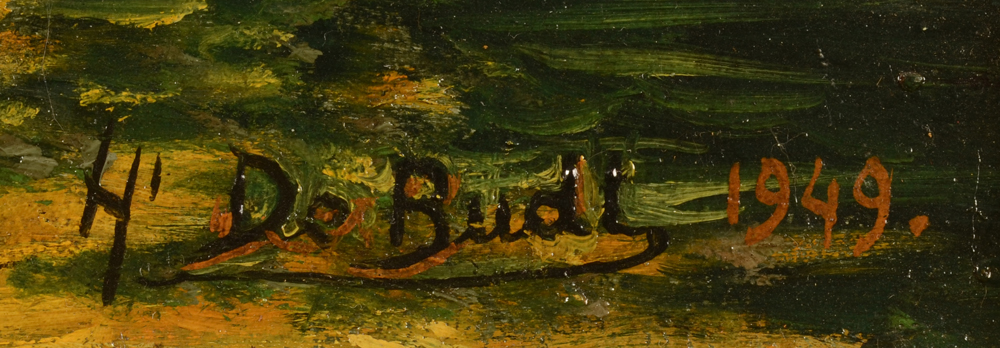Henri De Budt — Detail of the signature of the artist, and date 1949, bottom right