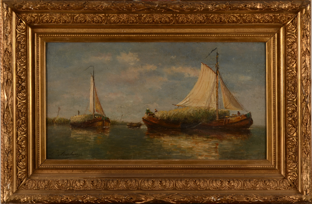 De Burbure Louis Flatbottom Boats transporting Harvest — In its original frame