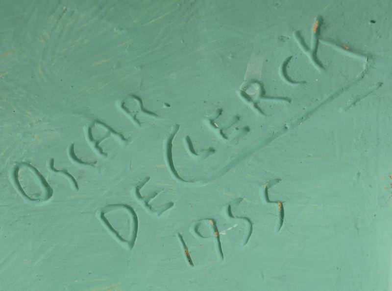 Oscar De Clerck — Siganture and date on the side of the bust